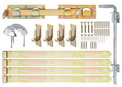 GAH-ALBERTS 216535 Beschlagsortiment | für Jägerzaun-Doppeltore | galvanisch gelb verzinkt, Durchmesser Rolle und Dorn 16 mm