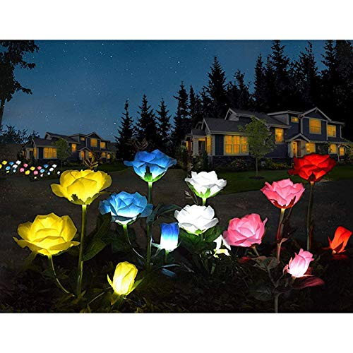 Berrywho Rosas de Flores solares, Luces LED 3 4 Paquete Impermeable al Aire Libre del Paisaje de la lámpara Decorativa para el césped del jardín Balcón Iluminación