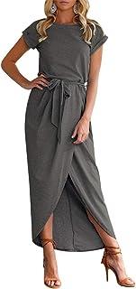 TYQQU Damen Kleid Sexy Kurzarm Split Kleid mit Gürtel Elegant Cocktailkleid Abendkleid XS-XXL