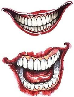 Set of 2 Waterproof Temporary Fake Tattoo Stickers Cool Sexy Horror Joker Face Halloween