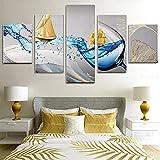 5 piezas de pintura de lienzo de barco dorado de onda azul impresiones de carteles decorativos de pared para sala de estar dormitorio decoración del hogar sin marco