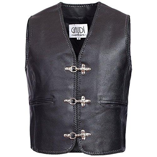 Gaudi-Leathers Herren Motorrad Lederweste Bikerweste Motorradweste Weste Kutte, E500SWL,schwarz