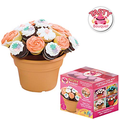 Tasty Bouquet- Create Beautiful Cupcake Bouquets in Seconds, Displays 19 Cupcakes, Includes 1 Dome Shaped Cupcake Rack, 1 Flower Pot, 4 Decorating Bags, 2 Decorating Tips