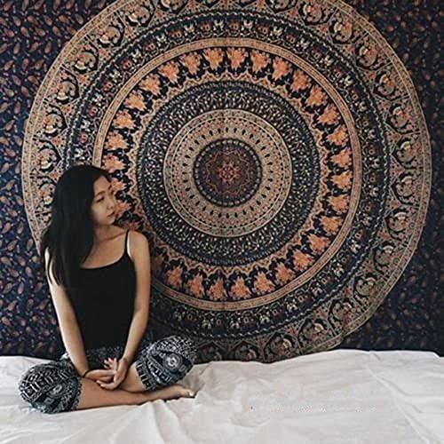 Tapiz de mandala indio colgante de pared tapiz bohemio manta de toalla de playa decoración de la pared del hogar tela de fondo A17 180x200cm