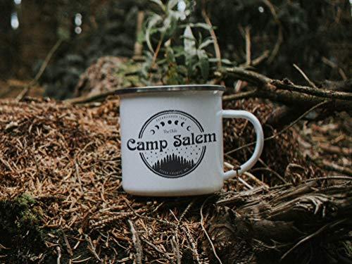 10 oz Brujas Taza Campamento Salem Personalizado Halloween Regalo Taza Esmalte Taza Taza de Café Camping Rv Accesorios Personalizado Otoño Regalo