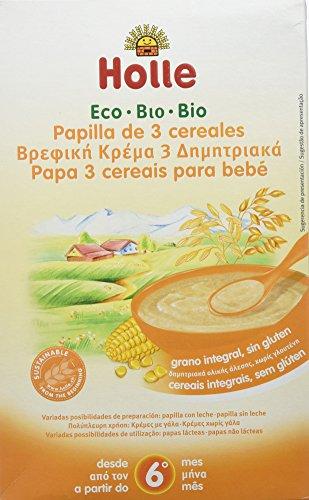 Holle Papilla de 3 Cereales (+ 6 meses) - 6 Paquetes de 1 x 250 gr - Total: 1500 gr