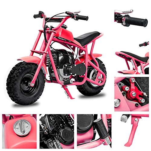 Fit Right 2020 DB003 40CC 4-Stroke Kids Dirt Off Road Mini Dirt Bike, Kid Gas Powered Dirt Bike Off Road Dirt Bikes, Gas Powered Trail Mini Bike - Ultra Edition (Pink)