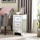Mirrored Nightstand End Tables with 3-Drawer, Silver Modern Beside Table, Mirror Accent Side Table for Bedroom, Living Room