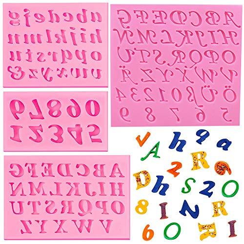Moldes de silicona de 4 piezas, letras mayúsculas, letras minúsculas y números Molde para moldes para muffins Molde para jabón hecho a mano Galleta de chocolate Bandeja para cubitos de hielo Moldes pa