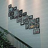 GJJSZ Rahmen Fotowand Treppe Korridor Fotowand Trapezwand Wohnzimmer Holz Moderne Leiter Fotowand Modisches Design (Farbe: B)