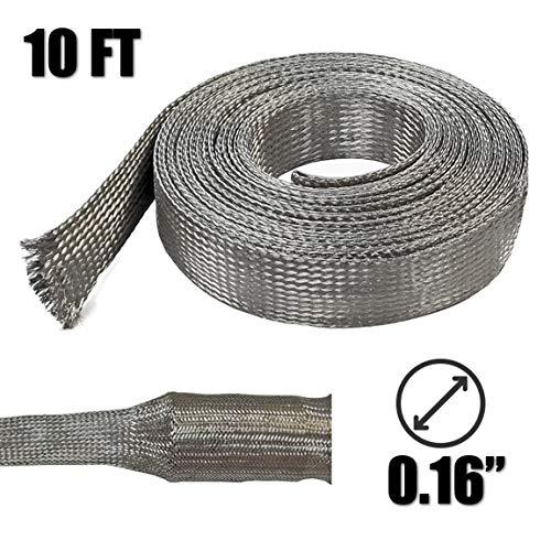 Electriduct 1/4' Tinned Copper Metal Braid Sleeving Flexible EMI RFI Shielding Wire Mesh (0.16' Diameter) - 10 Feet