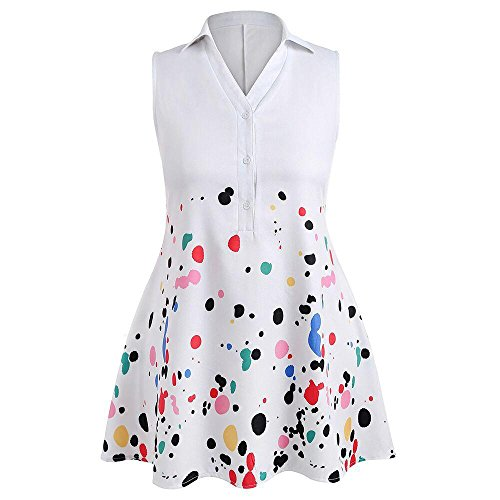 Plus Size Dresses, FORUU Womens Casual Splash Printed Sleeveless Polo Top Blouse White