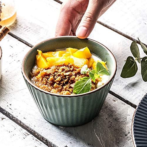 YYF Bol en céramique européenne gaufrée créative - steak/manger/salade/soupe (Color : Green, Taille : 10.8cm)