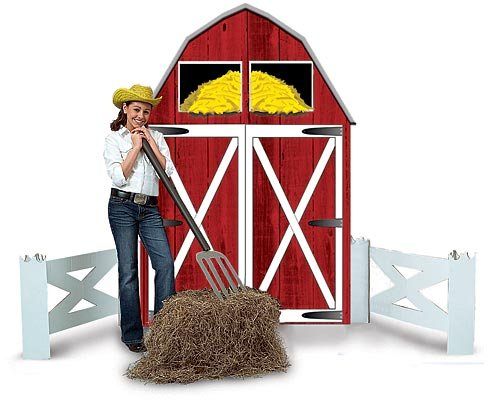 Big Red Barn Farm Party Photo Prop Decoration Standee Standup Cut Out