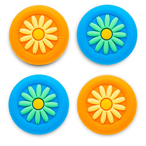 Playrealm Soft Rubber Silicone 3D Texture Thumb Grip Cover x 4 for PS5, PS4, Xbox Series X/S, Xbox One, Switch PRO Controller(Daisy Orange Blue Pack)