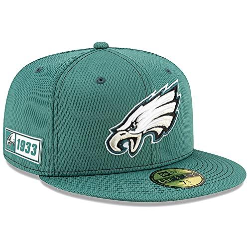 New Era - Berretto da Uomo Philadelphia Eagles Ufficiale NFL Sideline Road 59fifty, Uomo, Cappellino da Uomo, 12050641, Verde Scuro, 7 1/4