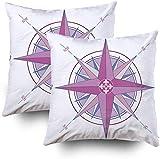 Juego de 2 fundas de almohada para sofá, diseño retro de brújula rosa con fleurdelis de 45,7 x 45,7 cm, 2 fundas de almohada decorativas cuadradas para sofá o dormitorio
