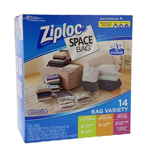Ziploc FBA_707373 Lot de 15&nbspSacs &Agrave Gain de Place, Plastique, Transparent, 14 Bags