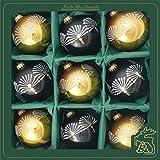 Krebs Glas Lauscha - Decoración para árbol de Navidad de cristal - Juego de bolas de Navidad con 9 bolas y diferentes decoraciones - Decoración para árbol de Navidad (negro/dorado)