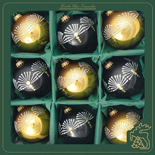 Lauscha - Set di palline per albero di Natale in vetro con 9 palline e diverse decorazioni, decorazione per albero di Natale (nero/oro)
