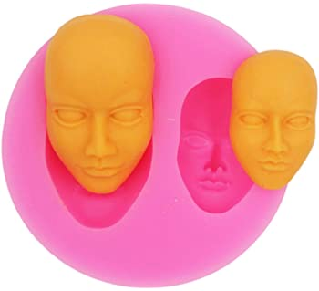 YunKo Human Face Shaped 3D Silicone Cake Fondant Mold, Cake Decoration Tools, Soap, Candle Moulds