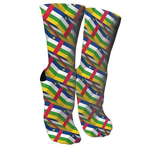 sdkjfg Bandera de África Central 3D Art Pattern Crew Calcetines Novedad Calcetines elegantes adecuados para correr Deportes Senderismo