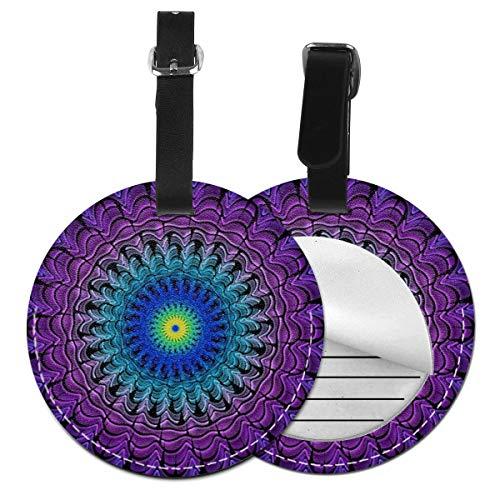 Etiquetas de Equipaje de Cuero Sintético Identificación de Nombre con Cubierta de Privacidad Trasera para Maleta de Viaje Mandala de vértigo Azul púrpura