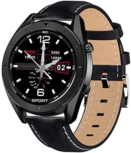 Smart Ip68 pulsera impermeable de monitoreo de la salud, podómetro deportivo, monitoreo del sueño, pulsera táctil multifunción, reloj de desgaste diario-cuero negro