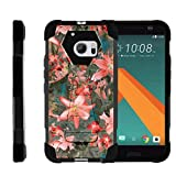 Compatible with HTC 10 Case | One M10 Case | HTC 10 Lifestyle [Dynamic Shell] Duo Protection Hybrid Case Impact Cover Hard Kickstand by TurtleArmor - Captivating Pink Floral