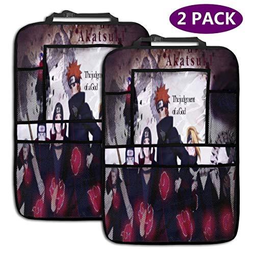 Anime Naruto Akatsuki Car Back seat Organizer 4 Large Storage Kid Snacks Water Bottle Toys Drinks and Space Saving Storage Seat Back Protectors Travel,iPad Holder,2 Pack