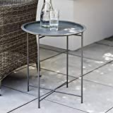 CKB LTD STEEL OUTDOOR BISTRO TRAY TABLE Foldable Rod Legs And Removable Tray Top Matt Charcoal Powder Coated Steel – Single <span class='highlight'>Garden</span> <span class='highlight'>Furniture</span> Table (Charcoal)