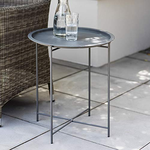 CKB LTD STEEL OUTDOOR BISTRO TRAY TABLE Foldable Rod Legs And Removable Tray Top Matt Charcoal Powder Coated Steel – Single Garden Furniture Table (Charcoal)