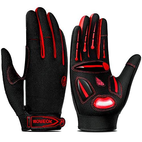 TEUEN Fahrradhandschuhe Herren Touchscreen Fahrradhandschuhe Damen Winter, Gel MTB Handschuhe Vollfinger Atmungsaktiv Mountainbike Handschuhe Männer für Laufen Wandern Radsport (Rot, XL-Extra groß)