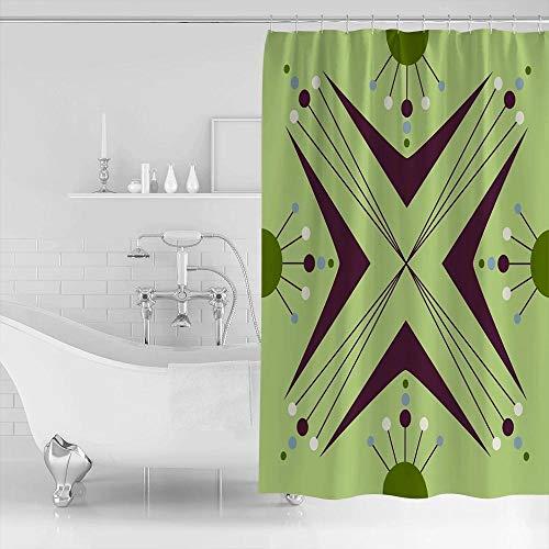 N / A Badezimmer dekorative Kreis Dreieck Pfeil Atom Bumerang Grün Muster Duschvorhänge Polyester Stoff Wasserdicht Bad Vorhang-B150cmxH180cm