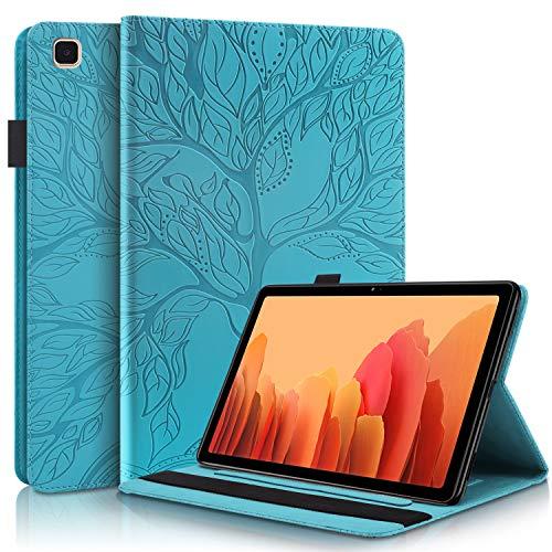CaseFun Funda para Samsung Galaxy Tab A7 10.4 2020 T500/T505/T507 Árbol de la Vida Carcasa Cover Soporte Múltiple Ángulo y Bolsillo de Documento, Azul