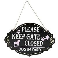 Yardwe 庭の犬は、屋内屋外の家の庭の装飾のためのゲートを閉じた壁のドアの看板木製のヴィンテージペットの看板をぶら下げ木製ボードの壁のドアアートプラークを維持