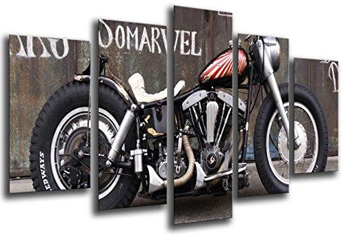 Cuadro Fotográfico Moto Harley Davidson, Moto Antigua Vintage Tamaño total: 165 x 62 cm XXL