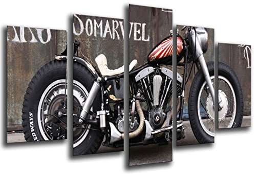 Quadro Fotografico Moto Harley Davidson, Moto Antigua Vintage Dimensione totale: 165 x 62 cm XXL