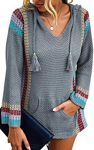 Spec4Y Hoodie Damen Langarm V-Ausschnitt Kordelzug Kapuzenpullover Gestreift Farbblock Lässige Pullover Sweatshirts mit Taschen 2059 Grau Large