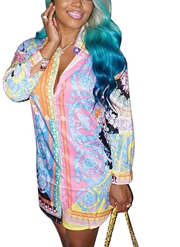 Women's Floral Print T-Shirt Dress - Button Down Long Sleeve Collar Loose Blouse Tops Mini Dress Colorful XL