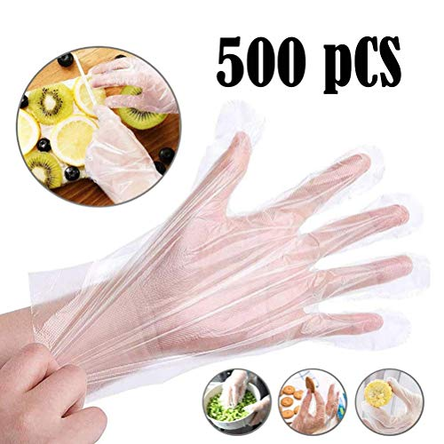 500PCS Disposable Clear Plastic Gloves - Plastic Disposable Food Prep Gloves,Disposable Polyethylene Work Gloves Industrial Clear Vinyl Glovesfor Cooking,Cleaning,Food Handling