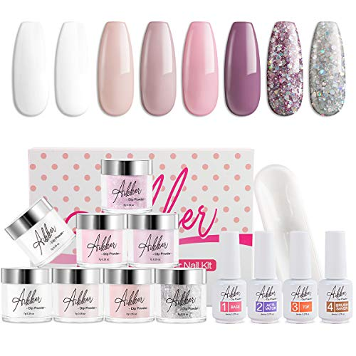 Aikker 13pcs Acrylic Dipping Powder Nail Starter Kit 8 Color Dip Powder - French Set AK09