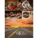 GREAT ART 2er Set XXL Poster – Kaffee & Route 66 –