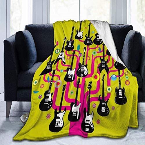 Guitars Rock Blanket Manta cálida y gruesa Manta ligera y acogedora que mantiene tu cuerpo caliente Manta antiestática para sofá para todas las estaciones, viajes, dormitorio, decoración del hogar