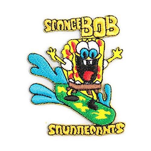 ノーブランド品 spongebob スポンジボブ サーフ SURF キャラクター ワッペン 黄