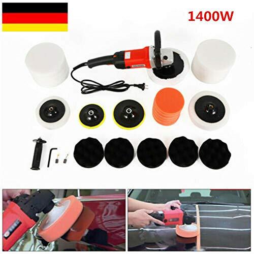 Kaibrite 1400W Poliermaschine Geräte Auto Polierer Set Schleifmaschine mit stufenloser Drehzahlregelung und Zubehör 0-3000U/min 230V