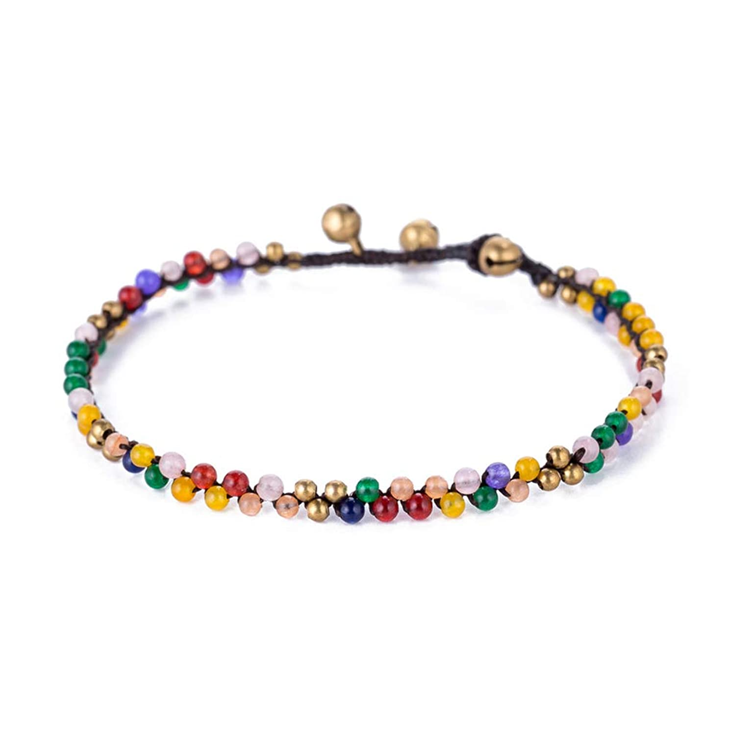 TOMLEE Vintage Handmade Wax Cord Stone Beaded Anklets for Women, Gypsy Style Boho Anklet for Teen Girls, Bohemian Ankle Bracelets for Women