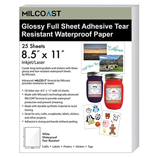 """Milcoast Glossy White Full Sheet 8.5"""" x 11"""" Adhesive Tear Resistant Waterproof Photo Craft Paper - for Inkjet/Laser Printers - for Stickers, Labels, Scrapbooks, Bottles, Arts, Crafts (25 Sheets)"""