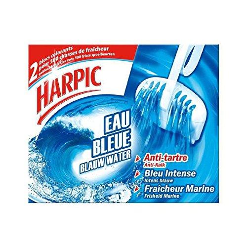 Harpic - Bloc cuvette WC colorant eau bleue, anti-tartre fraîcheur marine - L'étui de 2 blocs