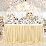 HBBMAGIC Falda de tul para mesa de color champán, para bodas, cumpleaños, candelabros, Navidad, baby shower, color champán, 183 cm de largo x 76 cm de alto